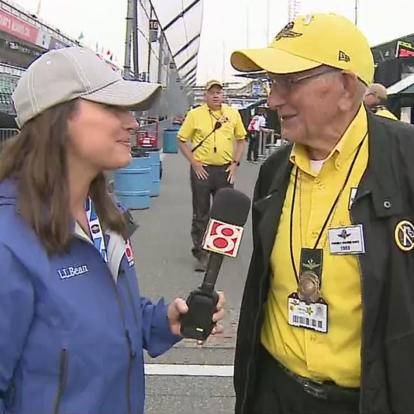 90-year-old yellow shirt working 50th Indy 500 at IMS